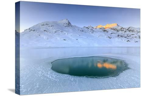 The Piz Cambrena Illuminated by the Sun Reflecting in a Pool Surrounded by Ice at the Bernina-Roberto Moiola-Stretched Canvas Print