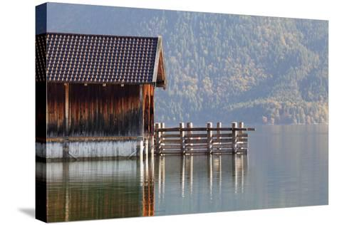 Boat House at Walchensee Lake in Autumn, Bavarian Alps, Upper Bavaria, Bavaria, Germany, Europe-Markus Lange-Stretched Canvas Print