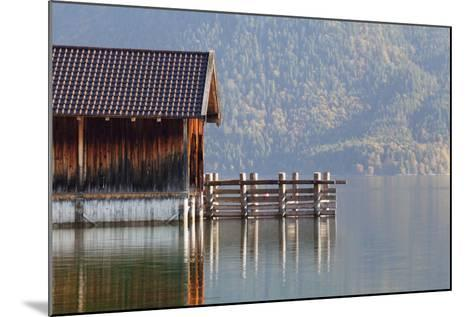 Boat House at Walchensee Lake in Autumn, Bavarian Alps, Upper Bavaria, Bavaria, Germany, Europe-Markus Lange-Mounted Photographic Print
