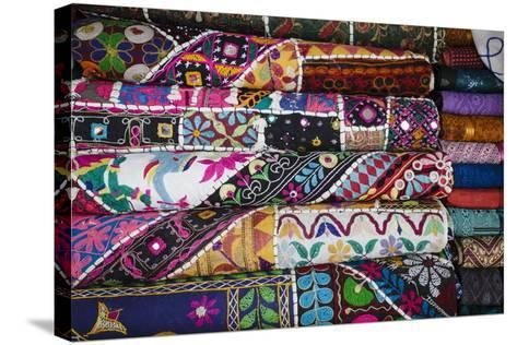 Colourful Hand Woven Fabrics at Mapusa Market, Goa, India, Asia-Yadid Levy-Stretched Canvas Print