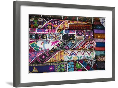 Colourful Hand Woven Fabrics at Mapusa Market, Goa, India, Asia-Yadid Levy-Framed Art Print