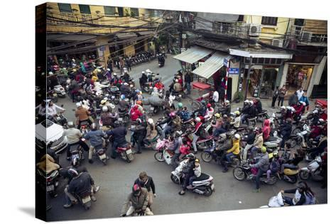Busy Traffic in the Old Quarter, Hanoi, Vietnam, Indochina, Southeast Asia, Asia-Yadid Levy-Stretched Canvas Print