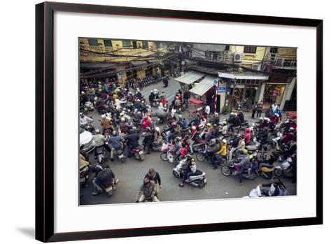Busy Traffic in the Old Quarter, Hanoi, Vietnam, Indochina, Southeast Asia, Asia-Yadid Levy-Framed Art Print