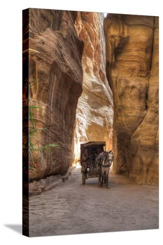 Horsecart in the Siq, Petra, Jordan, Middle East-Richard Maschmeyer-Stretched Canvas Print