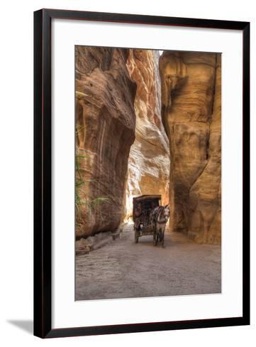 Horsecart in the Siq, Petra, Jordan, Middle East-Richard Maschmeyer-Framed Art Print