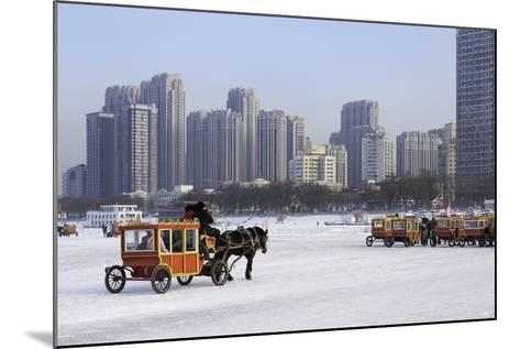 A Carriage on the Icebound Songhua River in Harbin, Heilongjiang, China, Asia-Gavin Hellier-Mounted Photographic Print