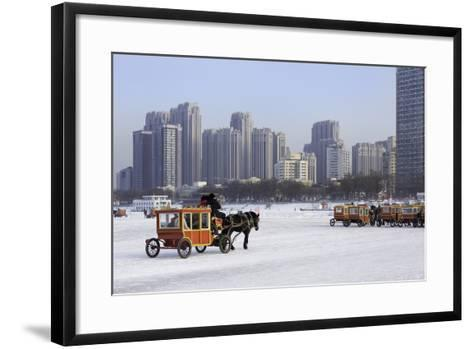 A Carriage on the Icebound Songhua River in Harbin, Heilongjiang, China, Asia-Gavin Hellier-Framed Art Print