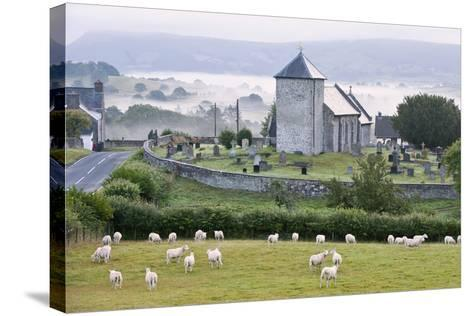 Early Morning Mist in the Valleys Surrounds St. David's Church-Graham Lawrence-Stretched Canvas Print