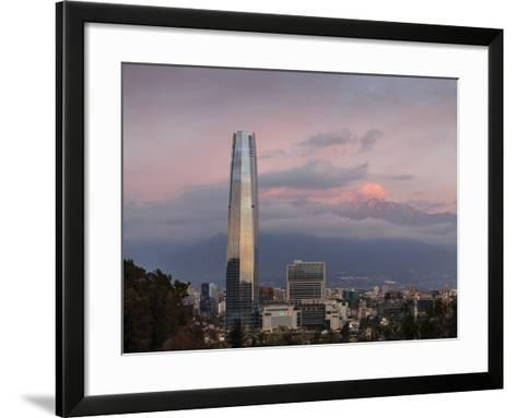 View over the Gran Torre Santiago from Cerro San Cristobal, Santiago, Chile, South America-Yadid Levy-Framed Art Print