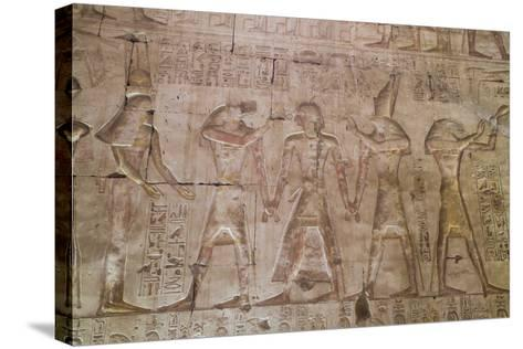 Bas-Relief of Pharaoh Seti I in Center with Egyptian Gods-Richard Maschmeyer-Stretched Canvas Print