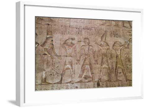 Bas-Relief of Pharaoh Seti I in Center with Egyptian Gods-Richard Maschmeyer-Framed Art Print