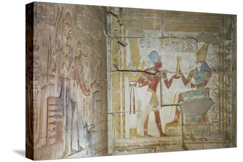 Bas Relief of Pharaoh Seti I Making an Offering to the Seated God Horus on Right-Richard Maschmeyer-Stretched Canvas Print