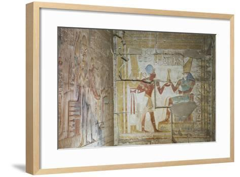 Bas Relief of Pharaoh Seti I Making an Offering to the Seated God Horus on Right-Richard Maschmeyer-Framed Art Print