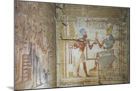Bas Relief of Pharaoh Seti I Making an Offering to the Seated God Horus on Right-Richard Maschmeyer-Mounted Photographic Print