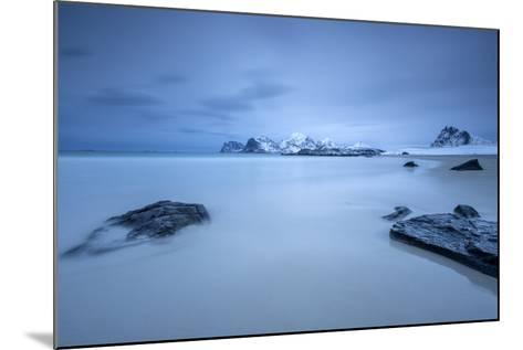 The Cold Blue Sea Bathes the Beach Still Partially Snowy. Myrland-Roberto Moiola-Mounted Photographic Print