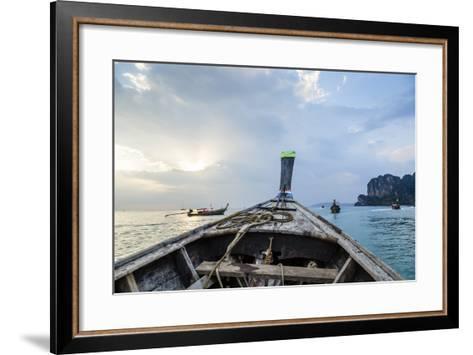 Longtail Boat, Railay Beach, Krabi, Thailand, Southeast Asia, Asia-Yadid Levy-Framed Art Print