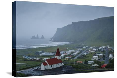 View over the Village of Vik on a Rainy Day, Iceland, Polar Regions-Yadid Levy-Stretched Canvas Print
