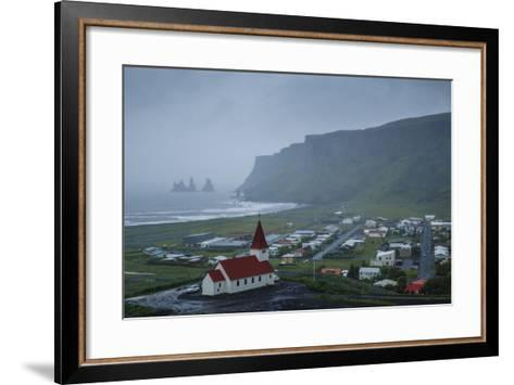 View over the Village of Vik on a Rainy Day, Iceland, Polar Regions-Yadid Levy-Framed Art Print