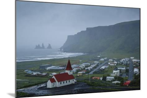 View over the Village of Vik on a Rainy Day, Iceland, Polar Regions-Yadid Levy-Mounted Photographic Print