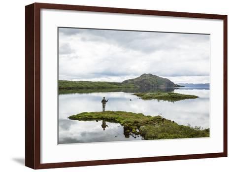 Man Fishing at Thingvallavatn Lake, Thingvellir (Pingvellir) National Park, Golden Circle, Iceland-Yadid Levy-Framed Art Print