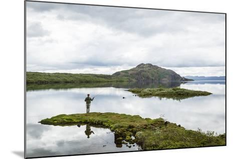 Man Fishing at Thingvallavatn Lake, Thingvellir (Pingvellir) National Park, Golden Circle, Iceland-Yadid Levy-Mounted Photographic Print