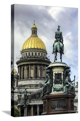 Golden Dome of St. Isaac's Cathedral Built in 1818 and the Equestrian Statue of Tsar Nicholas-Gavin Hellier-Stretched Canvas Print