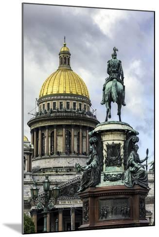 Golden Dome of St. Isaac's Cathedral Built in 1818 and the Equestrian Statue of Tsar Nicholas-Gavin Hellier-Mounted Photographic Print