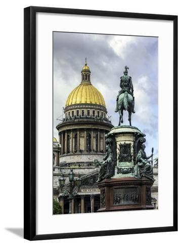 Golden Dome of St. Isaac's Cathedral Built in 1818 and the Equestrian Statue of Tsar Nicholas-Gavin Hellier-Framed Art Print