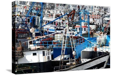 Densely Crowded Fishing Boats Moored in Tangier Fishing Harbour, Tangier, Morocco-Mick Baines & Maren Reichelt-Stretched Canvas Print