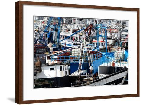 Densely Crowded Fishing Boats Moored in Tangier Fishing Harbour, Tangier, Morocco-Mick Baines & Maren Reichelt-Framed Art Print