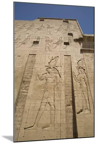 Relief Depicting Horus on Left, Pylon, Temple of Horus, Edfu, Egypt, North Africa, Africa-Richard Maschmeyer-Mounted Photographic Print