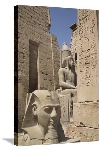 Head of Ramses Ii in Foreground and Colosssus of Ramses Ii Behind-Richard Maschmeyer-Stretched Canvas Print