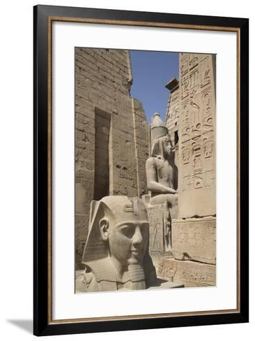 Head of Ramses Ii in Foreground and Colosssus of Ramses Ii Behind-Richard Maschmeyer-Framed Art Print