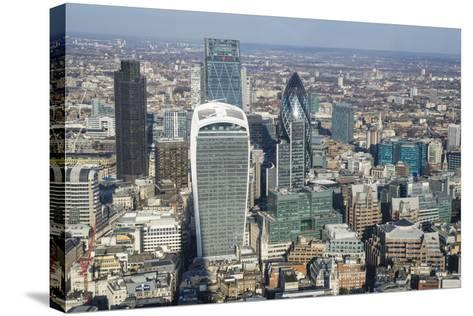 Elevated View of Skyscrapers in the City of London's Financial District, London, England, UK-Amanda Hall-Stretched Canvas Print