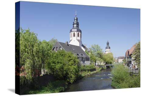 St. Martinskriche Church on River Alb and Town Hall, Ettlingen, Baden-Wurttemberg, Germany-Markus Lange-Stretched Canvas Print