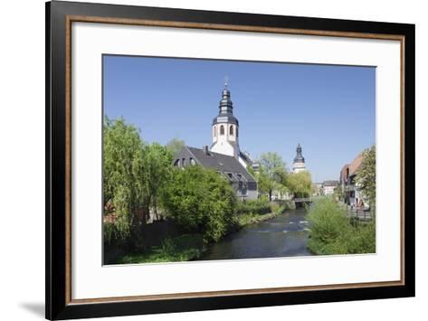 St. Martinskriche Church on River Alb and Town Hall, Ettlingen, Baden-Wurttemberg, Germany-Markus Lange-Framed Art Print