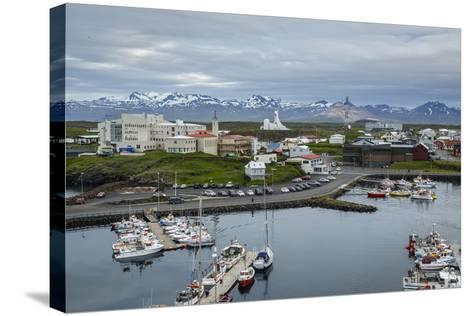 View over the Fishing Port and Houses at Stykkisholmur, Snaefellsnes Peninsula, Iceland-Yadid Levy-Stretched Canvas Print