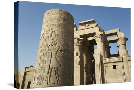 Pillar with Bas-Relief, Forecourt, Temple of Haroeris and Sobek-Richard Maschmeyer-Stretched Canvas Print