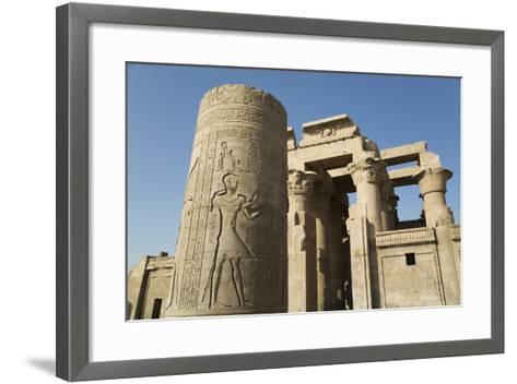 Pillar with Bas-Relief, Forecourt, Temple of Haroeris and Sobek-Richard Maschmeyer-Framed Art Print