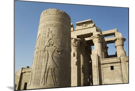 Pillar with Bas-Relief, Forecourt, Temple of Haroeris and Sobek-Richard Maschmeyer-Mounted Photographic Print