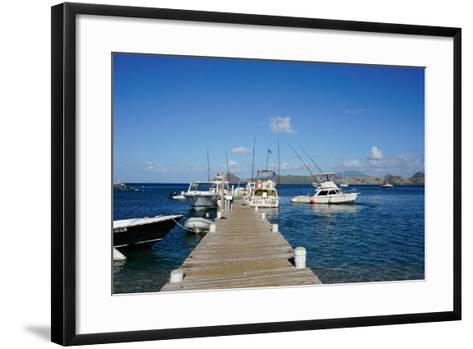 Dock at Oualie Beach, Nevis, St. Kitts and Nevis-Robert Harding-Framed Art Print