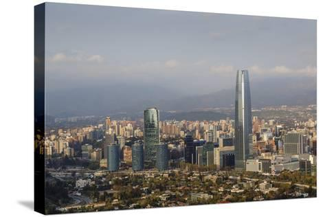 View over the Gran Torre Santiago from Cerro San Cristobal, Santiago, Chile, South America-Yadid Levy-Stretched Canvas Print