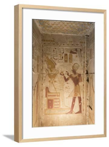 Bas-Relief, Pharaoh Seti I on Right, Temple of Seti I, Abydos, Egypt, North Africa, Africa-Richard Maschmeyer-Framed Art Print
