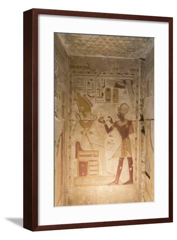 Bas-Relief, Pharaoh Seti I on Right, Temple of Seti I, Abydos, Egypt, North Africa, Africa-Richard Maschmeyer-Framed Art Print