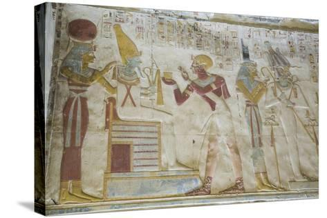 Pharaoh Seti I in Center Making an Offering to the Seated God Osiris-Richard Maschmeyer-Stretched Canvas Print