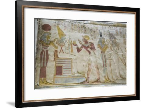 Pharaoh Seti I in Center Making an Offering to the Seated God Osiris-Richard Maschmeyer-Framed Art Print
