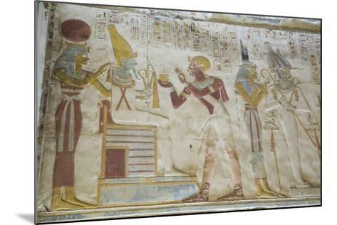 Pharaoh Seti I in Center Making an Offering to the Seated God Osiris-Richard Maschmeyer-Mounted Photographic Print