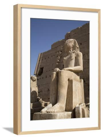 Seated Colossus in Front of 8th Pylon, Karnak Temple, Luxor, Thebes, Egypt, North Africa, Africa-Richard Maschmeyer-Framed Art Print