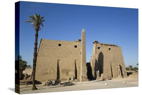 Obelisk, 25 Meters High in Front of Plyon 65 Meters Wide, Luxor Temple-Richard Maschmeyer-Stretched Canvas Print