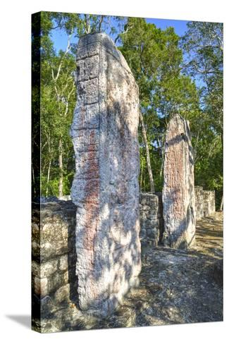 Stela 24 on Right, and Stela 23 on Left, on Top of Structure Vi-Richard Maschmeyer-Stretched Canvas Print